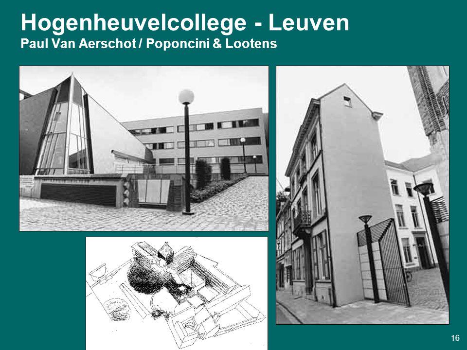 Design Futures Seminar ° Eindhoven 22/11/2000 16 Hogenheuvelcollege - Leuven Paul Van Aerschot / Poponcini & Lootens