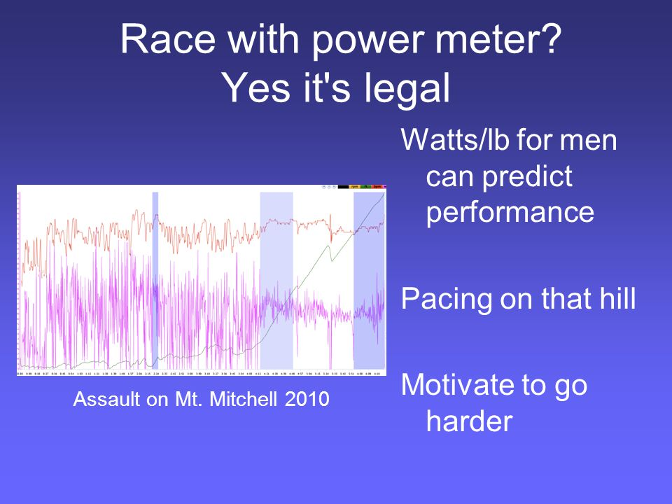 Race with power meter.