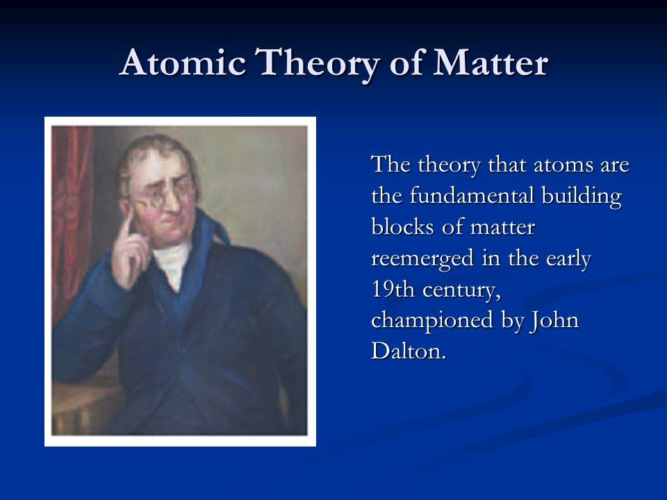 Dalton's Postulates Each element is composed of extremely small particles called atoms.