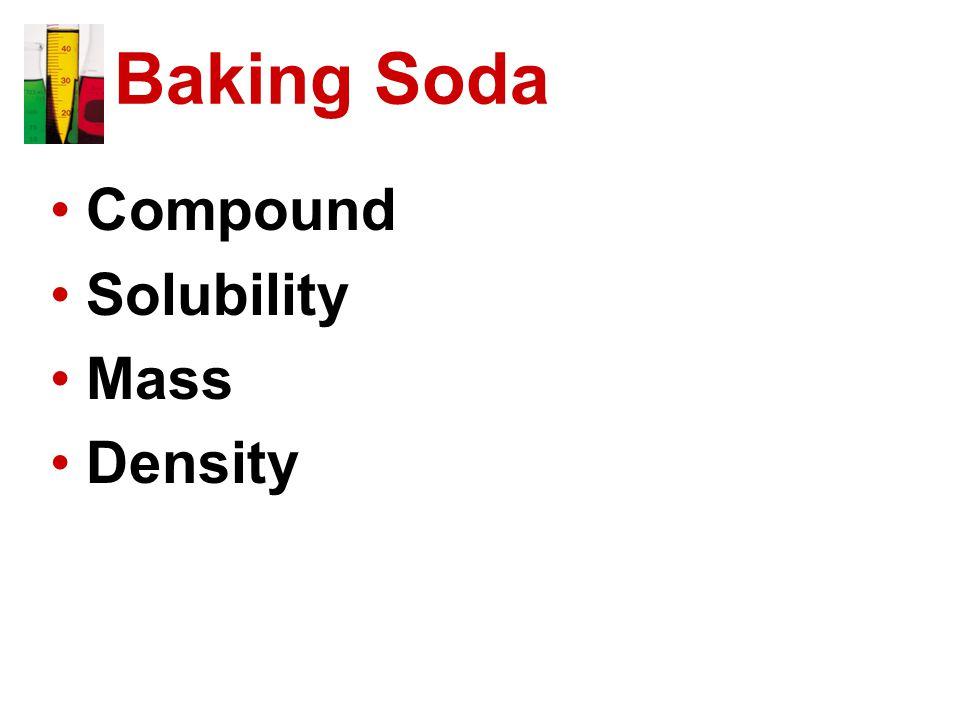 Baking Soda Compound Solubility Mass Density
