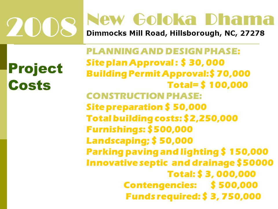 2008 Project Costs New Goloka Dhama Dimmocks Mill Road, Hillsborough, NC, 27278 PLANNING AND DESIGN PHASE: Site plan Approval : $ 30, 000 Building Permit Approval:$ 70,000 Total= $ 100,000 CONSTRUCTION PHASE: Site preparation $ 50,000 Total building costs: $2,250,000 Furnishings: $500,000 Landscaping; $ 50,000 Parking paving and lighting $ 150,000 Innovative septic and drainage $50000 Total: $ 3, 000,000 Contengencies: $ 500,000 Funds required: $ 3, 750,000