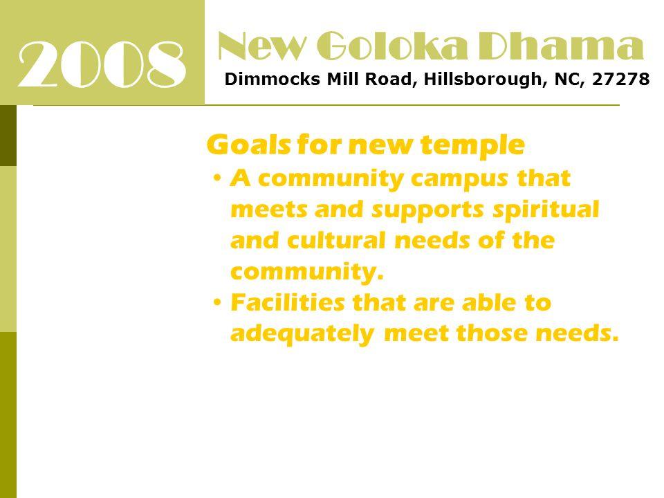 2008 New Goloka Dhama Dimmocks Mill Road, Hillsborough, NC, 27278 Goals for new temple ENVIRONMENT ECONOMICS GOOD BALANCE CAPITAL VS M&O SPIRITUAL AND CULTURAL