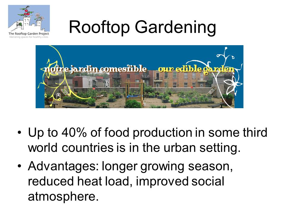 Rooftop Gardening Up to 40% of food production in some third world countries is in the urban setting.