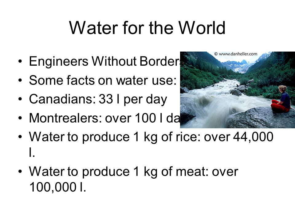 Water for the World Engineers Without Borders Some facts on water use: Canadians: 33 l per day Montrealers: over 100 l daily Water to produce 1 kg of rice: over 44,000 l.