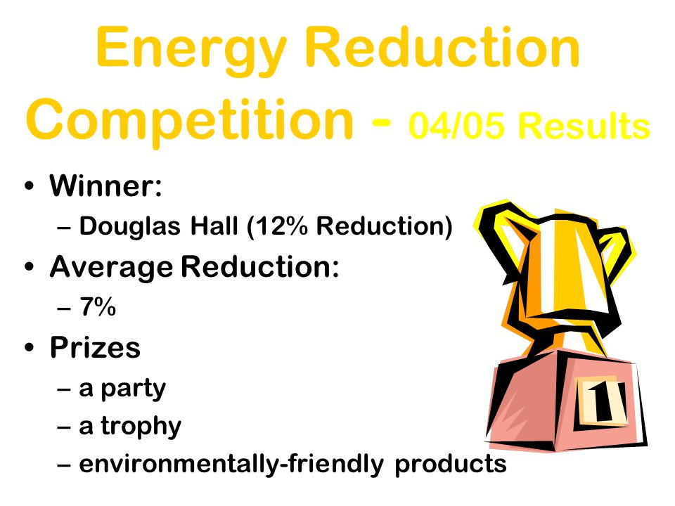 Energy Reduction Competition - 04/05 Results Winner: –Douglas Hall (12% Reduction) Average Reduction: –7% Prizes –a party –a trophy –environmentally-friendly products