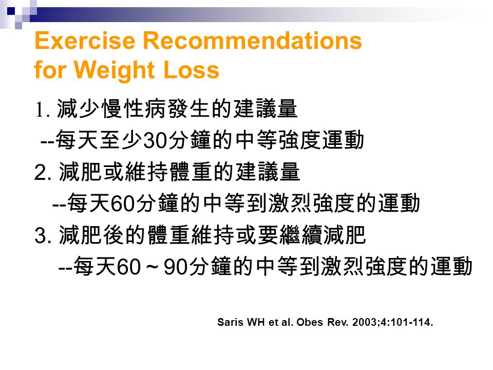 Exercise Recommendations for Weight Loss 1. 減少慢性病發生的建議量 -- 每天至少 30 分鐘的中等強度運動 2.