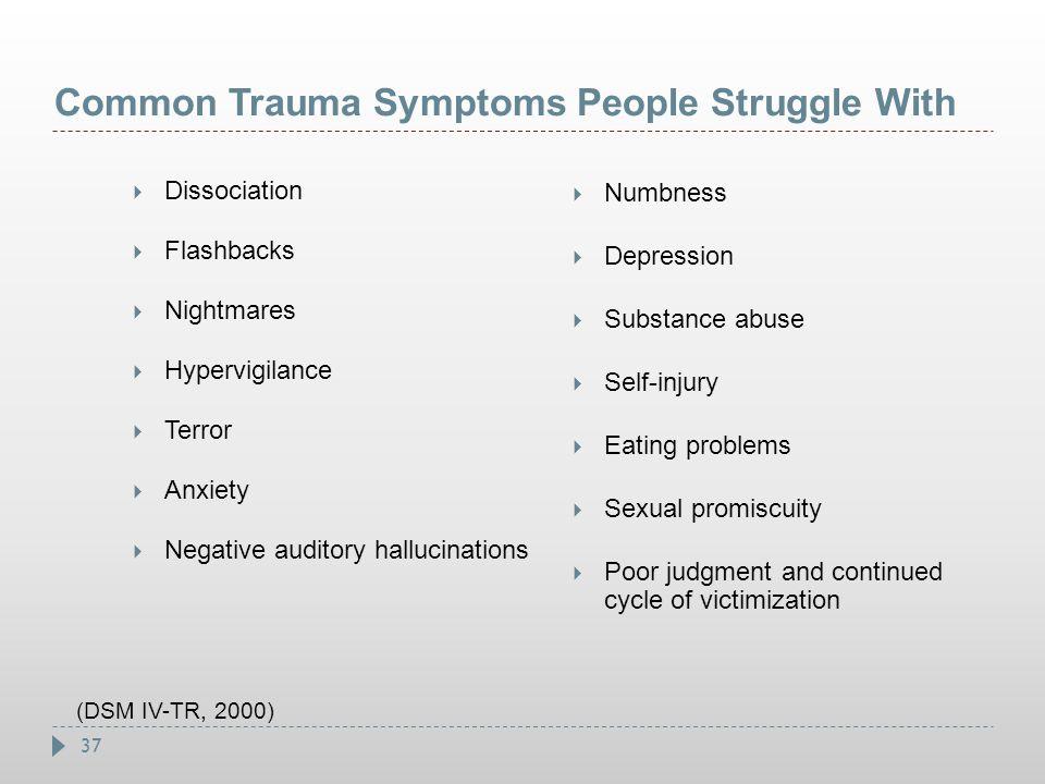 37 Common Trauma Symptoms People Struggle With  Dissociation  Flashbacks  Nightmares  Hypervigilance  Terror  Anxiety  Negative auditory halluc