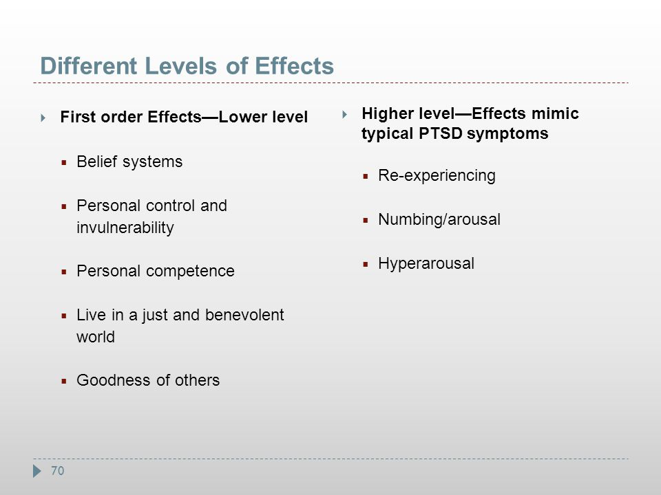 70 Different Levels of Effects  First order Effects—Lower level  Belief systems  Personal control and invulnerability  Personal competence  Live
