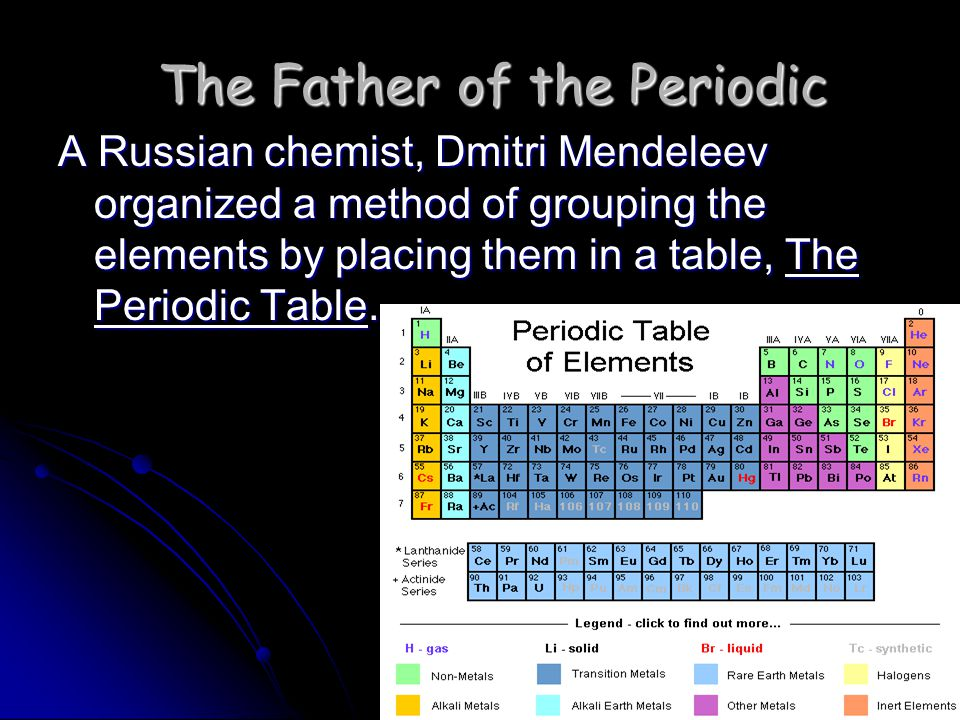 The Periodic Table Column = Group or Family 18 columns on the Periodic Table The Periodic Table arrangement makes it easy to remember the properties of elements.
