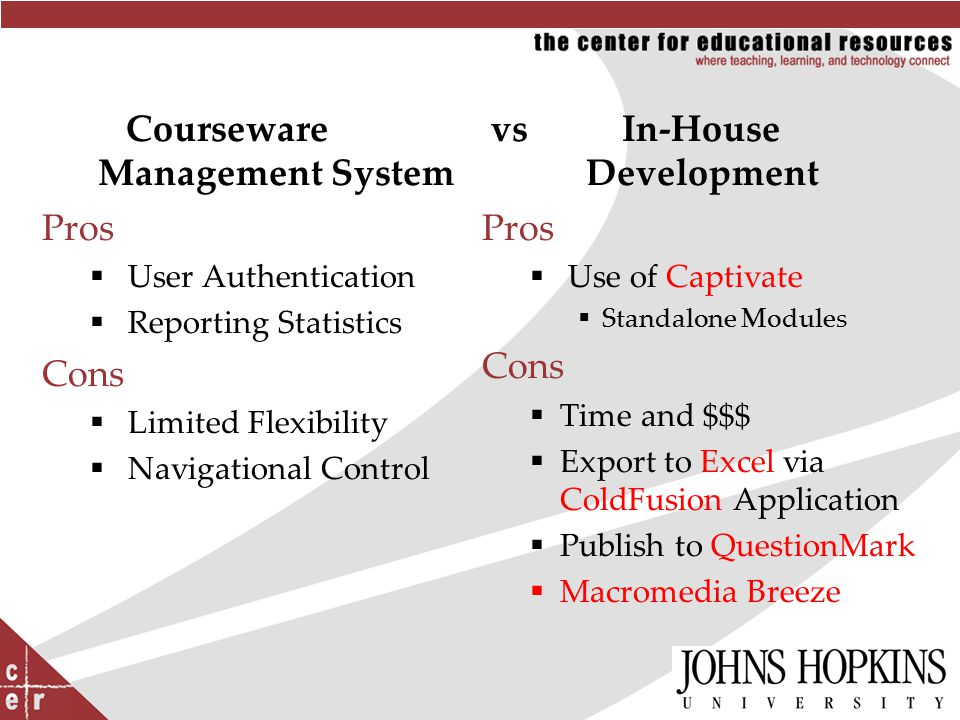 Click to edit Master title style Courseware vs In-House Management System Development Pros  User Authentication  Reporting Statistics Cons  Limited
