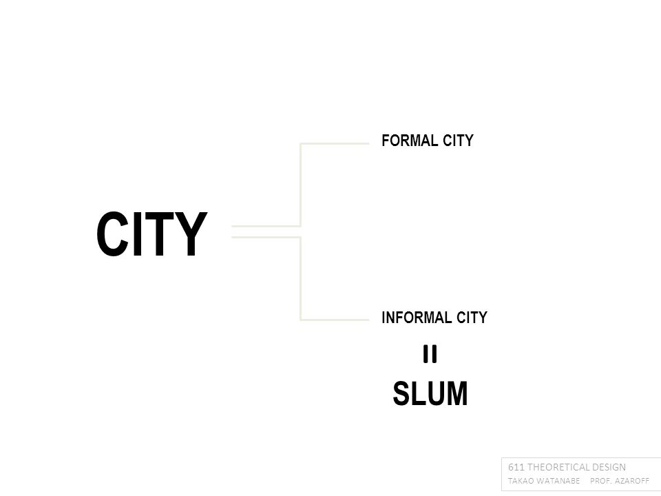 CITY 611 THEORETICAL DESIGN TAKAO WATANABE PROF. AZAROFF FORMAL CITY INFORMAL CITY SLUM =