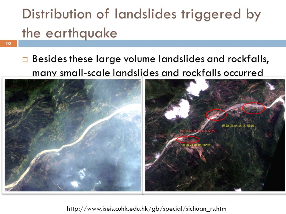 Distribution of landslides triggered by the earthquake 10  Besides these large volume landslides and rockfalls, many small-scale landslides and rockfalls occurred along the road and caused severe damage.(ex.