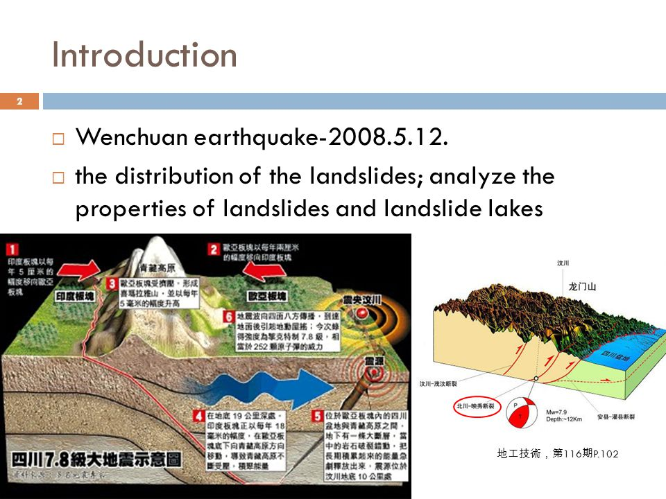 Distribution of landslides triggered by the earthquake 3  Geohazards have frequently occurred in the zone along the Longmenshan active fault system.