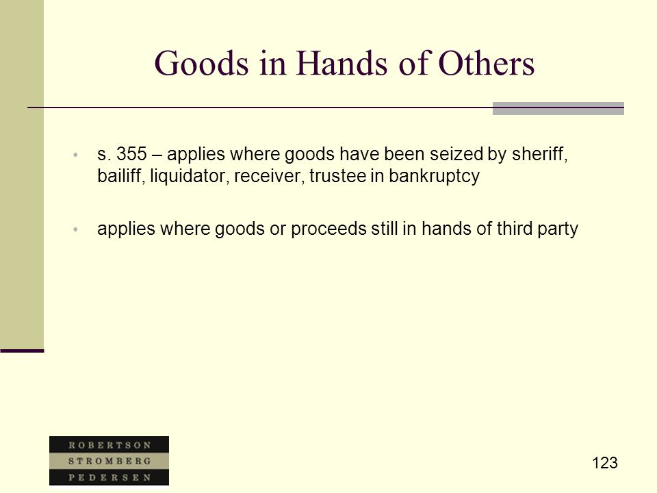 123 Goods in Hands of Others s.