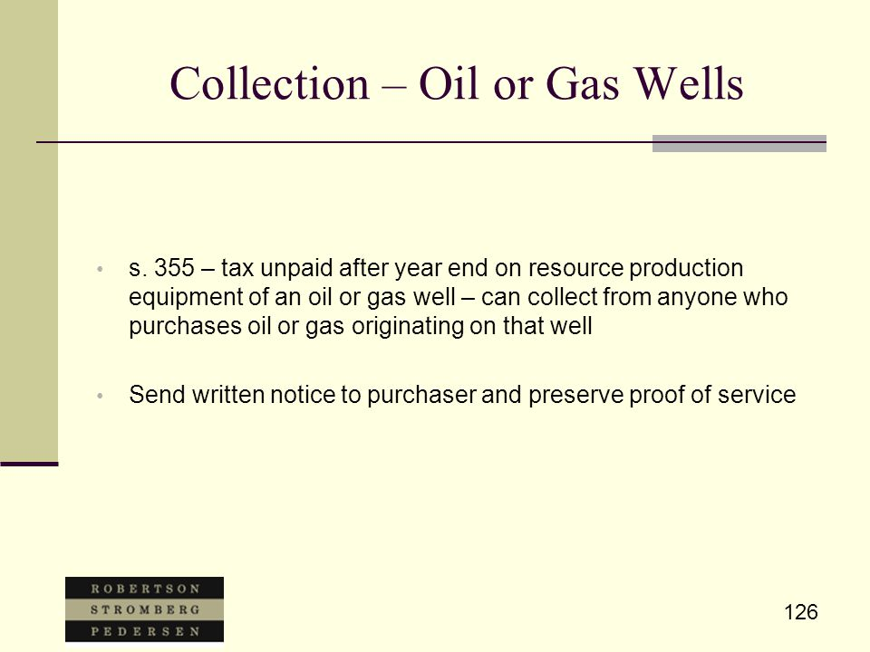 126 Collection – Oil or Gas Wells s.