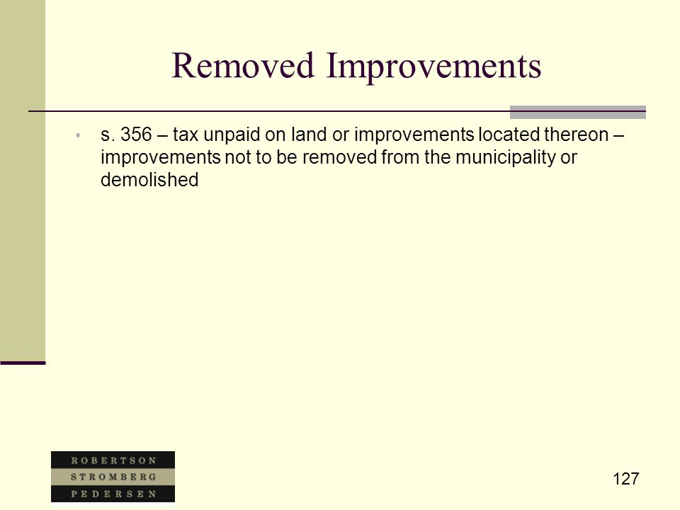 127 Removed Improvements s.