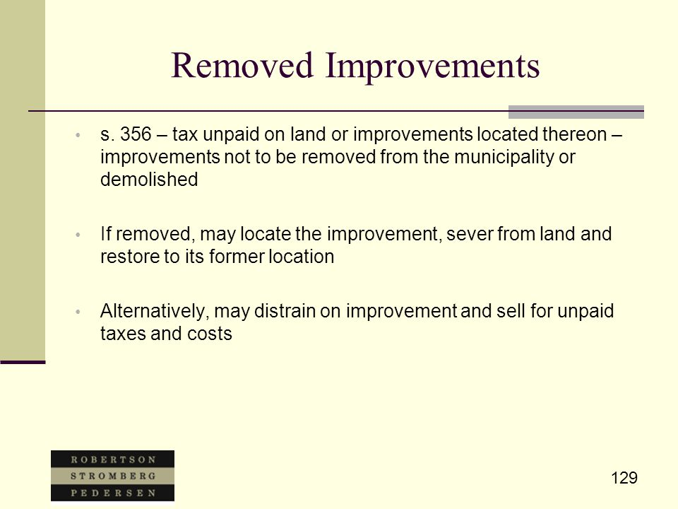129 Removed Improvements s.