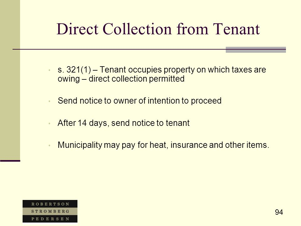 94 Direct Collection from Tenant s.