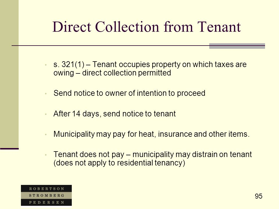 95 Direct Collection from Tenant s.