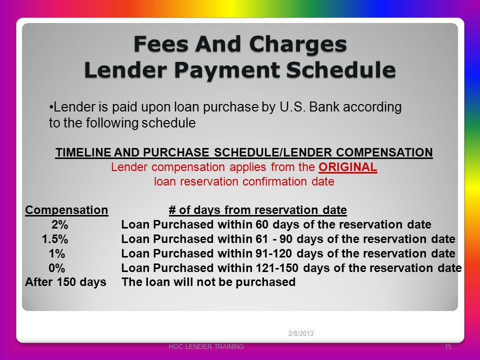 Fees And Charges Lender Payment Schedule 2/8/2013 HOC LENDER TRAINING15 Lender is paid upon loan purchase by U.S. Bank according to the following sche