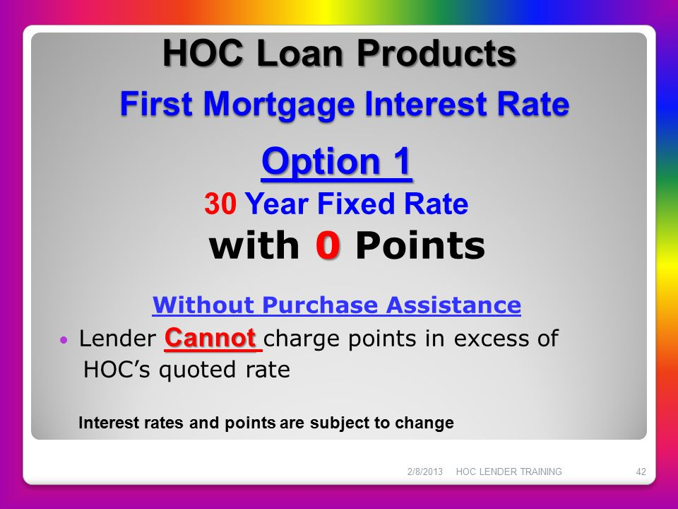 HOC Loan Products First Mortgage Interest Rate Option 1 0 30 Year Fixed Rate with 0 Points Without Purchase Assistance Cannot Lender Cannot charge poi