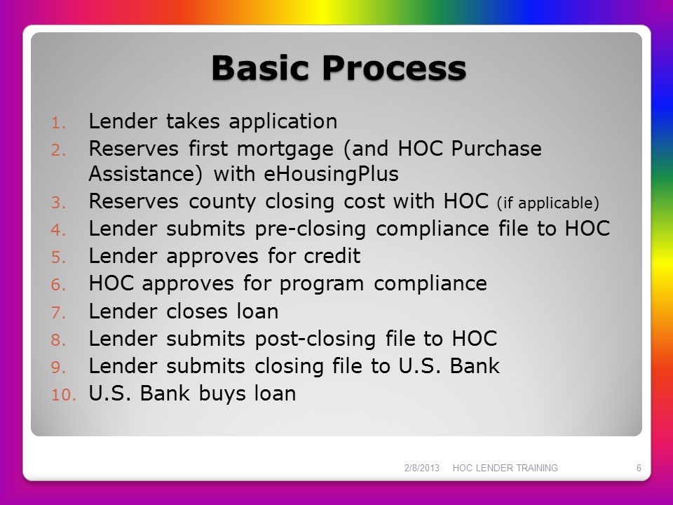 General Information HOC underwrites MBS loans for program compliance ONLY Lender underwrites for credit that conforms to FHA guidelines for purchase by U.S.