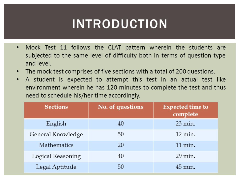 INTRODUCTION Mock Test 11 follows the CLAT pattern wherein the students are subjected to the same level of difficulty both in terms of question type a