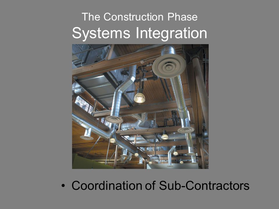 The Construction Phase Systems Integration Coordination of Sub-Contractors