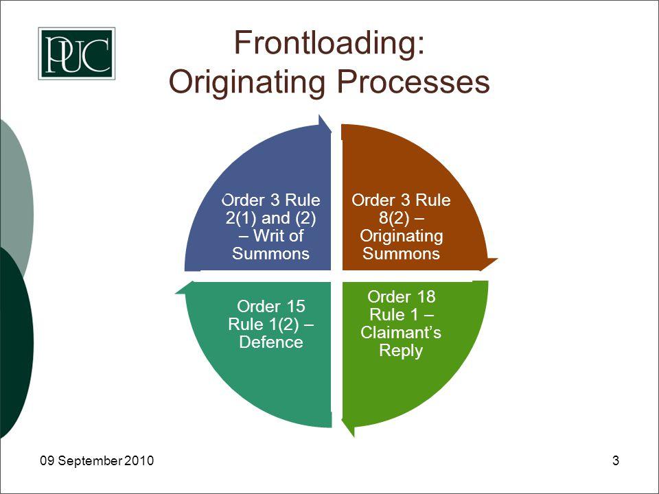 Frontloading: Originating Processes 09 September 20103 Order 3 Rule 8(2) – Originating Summons Order 18 Rule 1 – Claimant's Reply Order 15 Rule 1(2) – Defence Order 3 Rule 2(1) and (2) – Writ of Summons