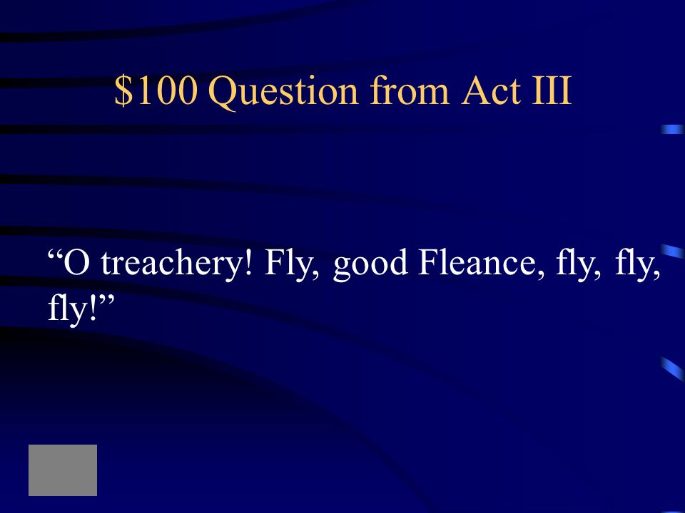 $500 Answer from Act II What is alcohol?