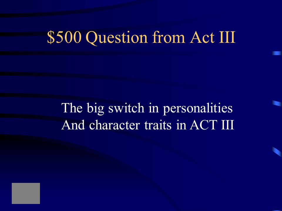 $400 Answer from Act III What vision does Macbeth's guilty conscience cause him to see