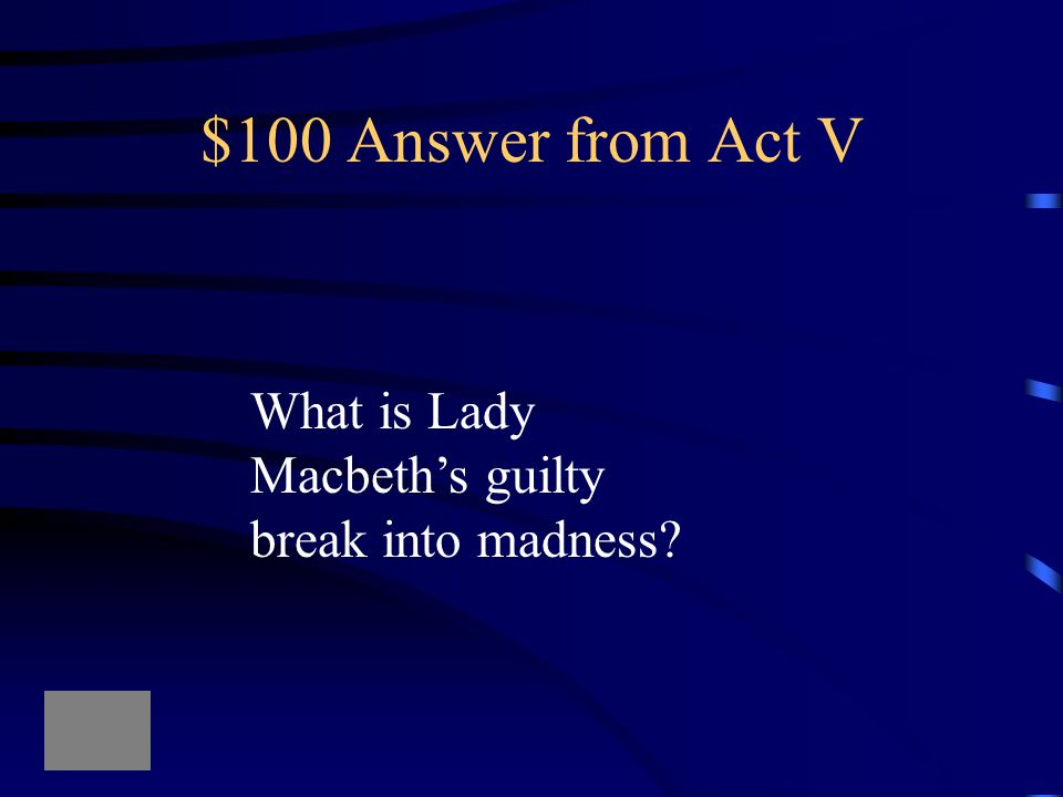 $100 Question from Act V Out, damned spot! out, I say!-- One: two: why, then, 'tis time to do't.--Hell is murky!--Fie, my lord, fie! a soldier, and af