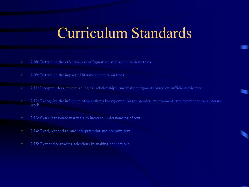 Curriculum Standards Learning Expectations: 2.01: Develop an understanding of and respect for multicultural, gender, and ethnic diversity in language use, patterns, and dialects, as well as for the development of the English language.