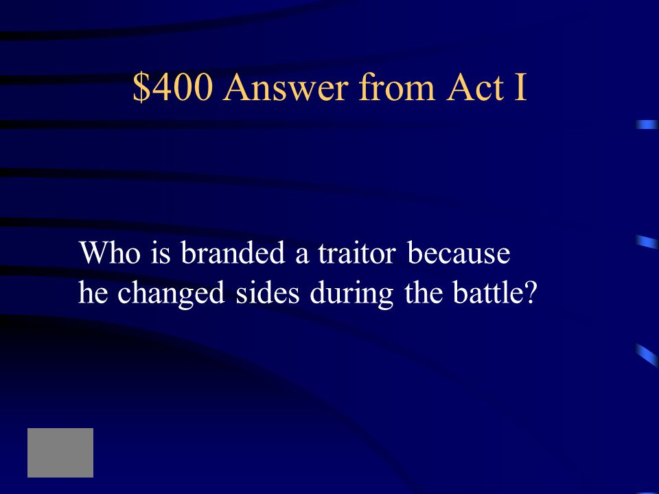 $400 Answer from Act IV What is what Lady Macduff's son Says to the murderers?