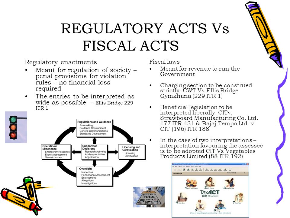 REGULATORY ACTS Vs FISCAL ACTS Regulatory enactments Meant for regulation of society – penal provisions for violation rules – no financial loss required The entries to be interpreted as wide as possible - Ellis Bridge 229 ITR 1 Fiscal laws Meant for revenue to run the Government Charging section to be construed strictly.