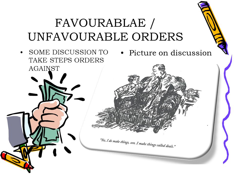 FAVOURABLAE / UNFAVOURABLE ORDERS SOME DISCUSSION TO TAKE STEPS ORDERS AGAINST Picture on discussion