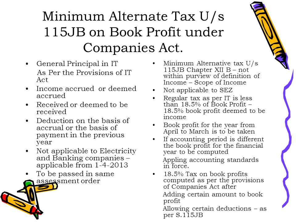 Minimum Alternate Tax U/s 115JB on Book Profit under Companies Act.
