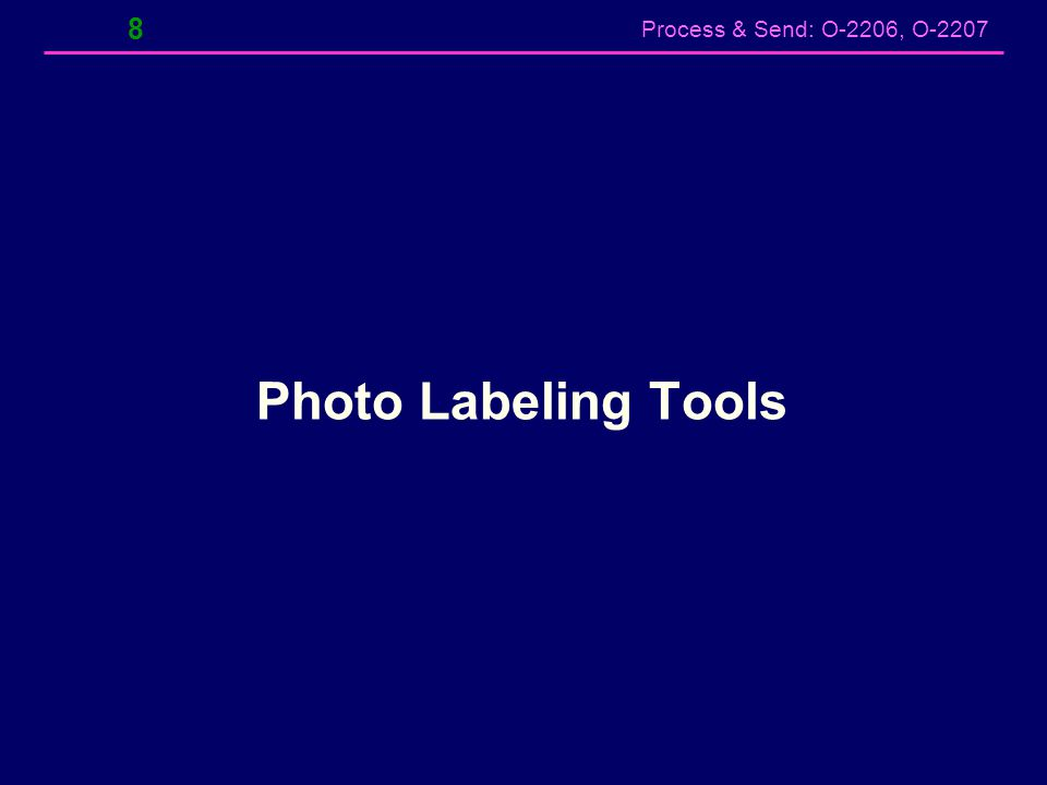 Process & Send: O-2206, O-2207 ViewNX2 – Print to File w/Label Select Print – Displays preview of photo with label Check Print Information then select Settings – Select Metadata tab & select location, name & date.
