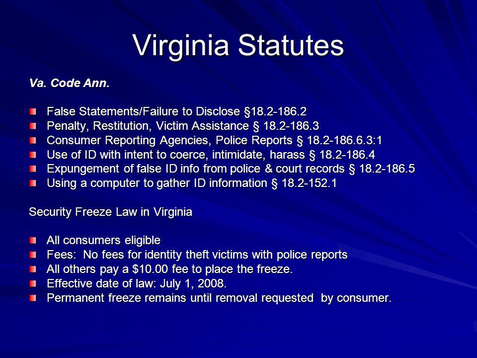 Virginia Statutes Va. Code Ann.