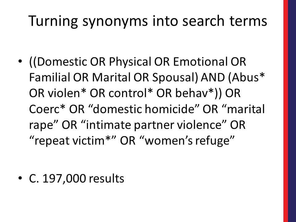 Turning synonyms into search terms ((Domestic OR Physical OR Emotional OR Familial OR Marital OR Spousal) AND (Abus* OR violen* OR control* OR behav*)) OR Coerc* OR domestic homicide OR marital rape OR intimate partner violence OR repeat victim* OR women's refuge C.