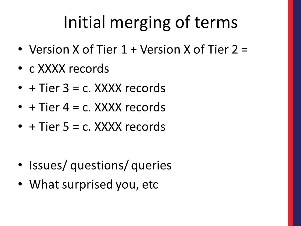 Initial merging of terms Version X of Tier 1 + Version X of Tier 2 = c XXXX records + Tier 3 = c.