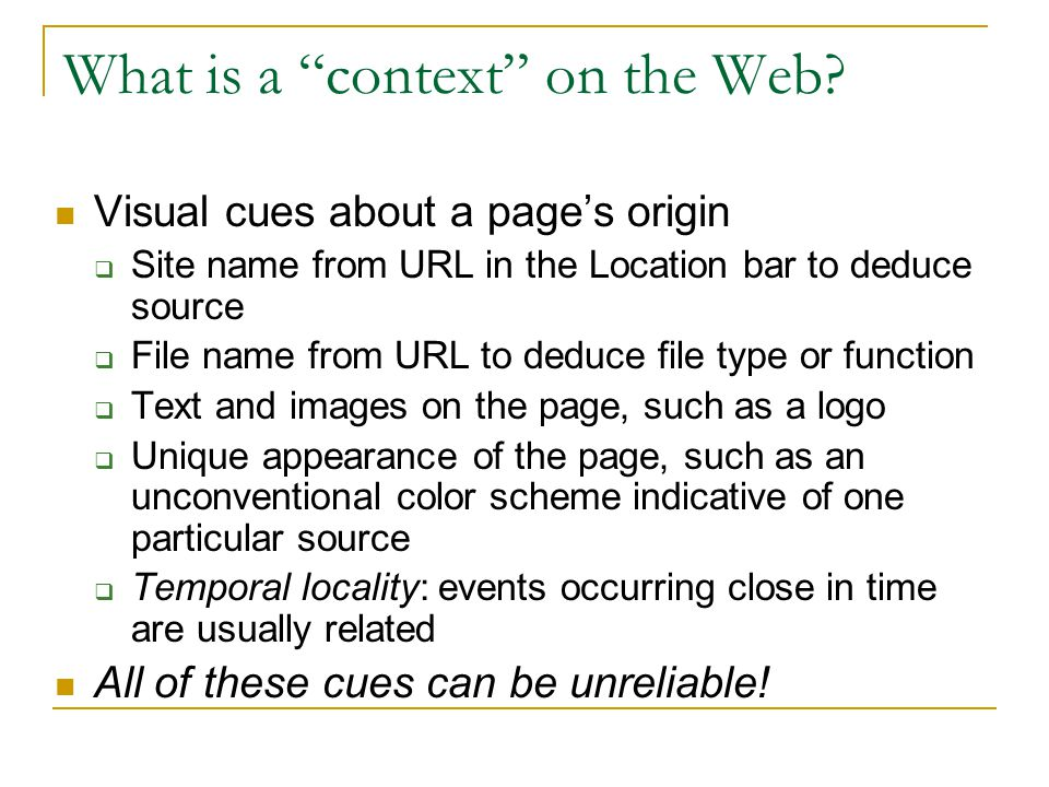What is a context on the Web.