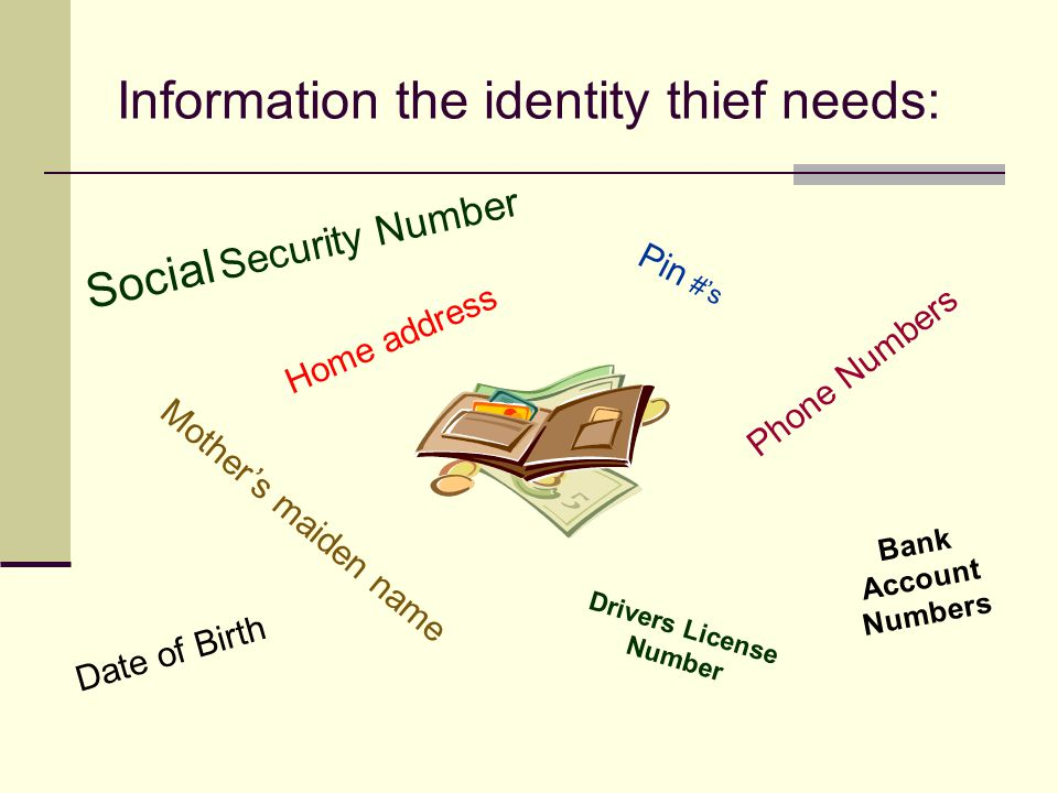 What thieves do with your personal information Obtain cash with bank cards Get jobs Rent an apartment Make retail purchases Get a phone or other utilities Give your name during an arrest Use insurance information to obtain medical procedures.