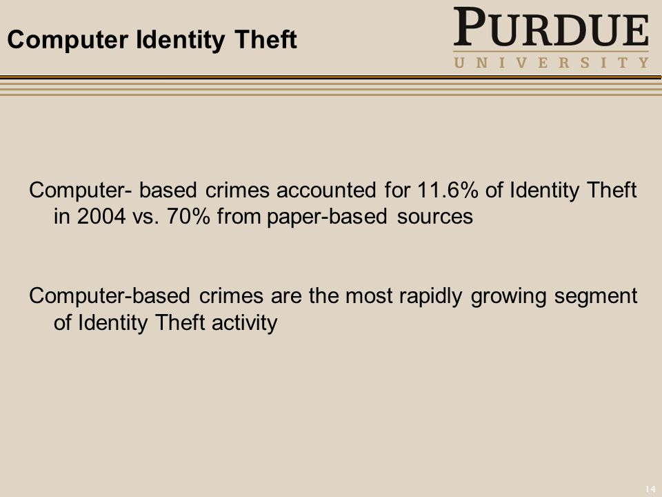 14 Computer Identity Theft Computer- based crimes accounted for 11.6% of Identity Theft in 2004 vs.