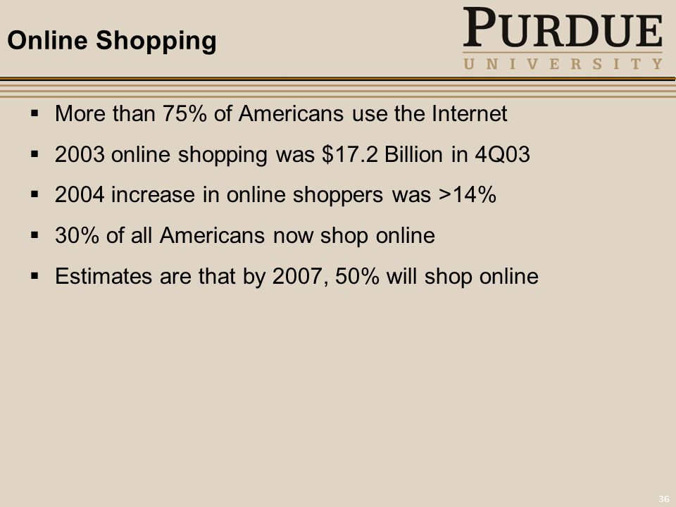 36 Online Shopping  More than 75% of Americans use the Internet  2003 online shopping was $17.2 Billion in 4Q03  2004 increase in online shoppers was >14%  30% of all Americans now shop online  Estimates are that by 2007, 50% will shop online