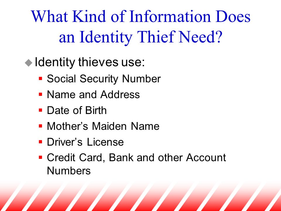 What Kind of Information Does an Identity Thief Need.