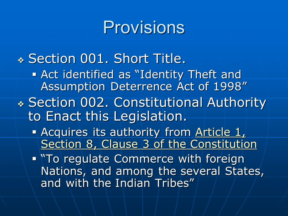 Provisions  Section 001. Short Title.