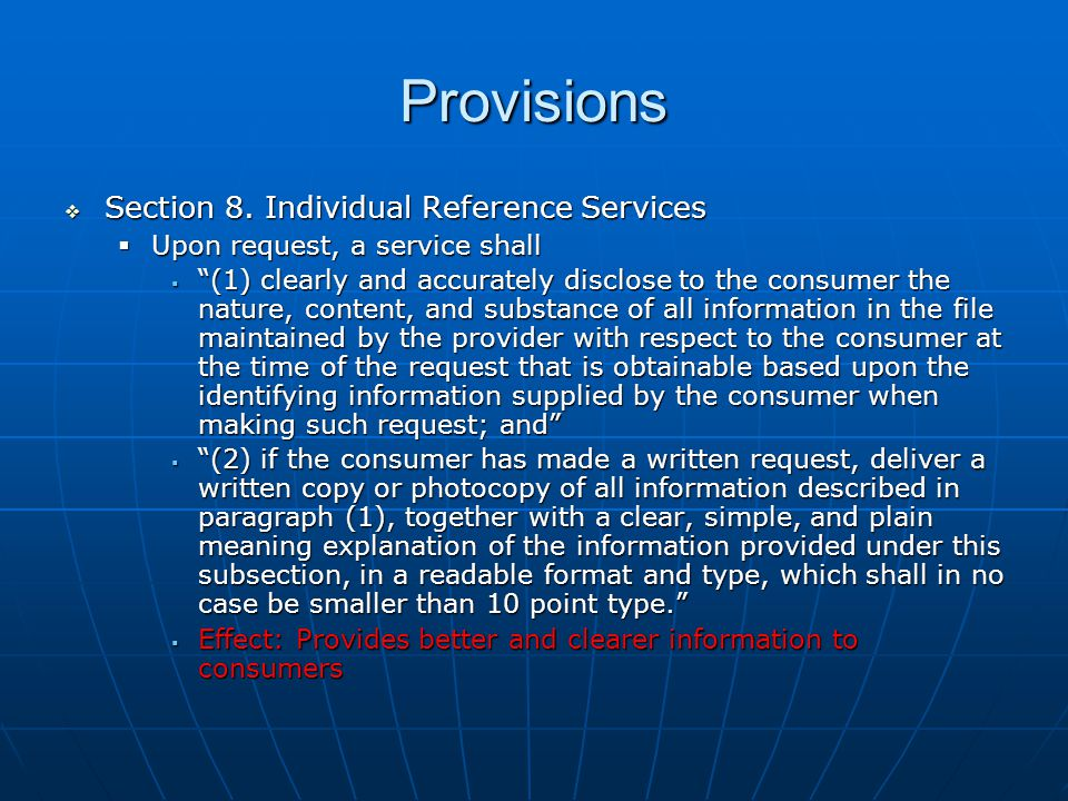Provisions  Section 8.