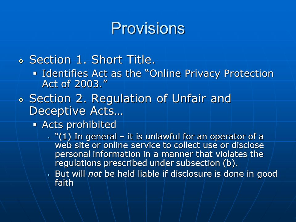Provisions  Section 1. Short Title.