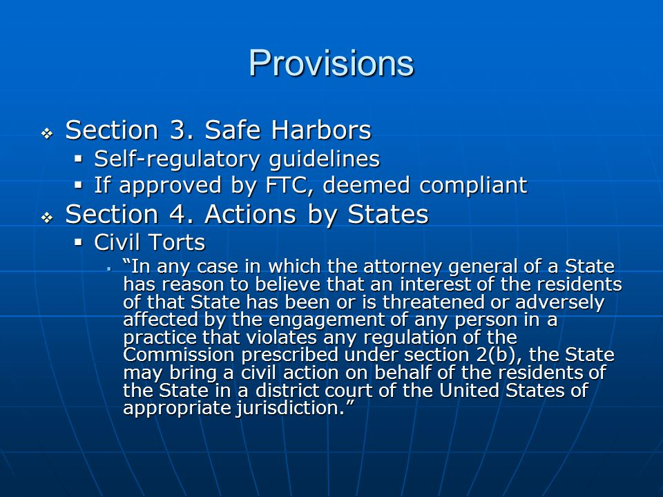 Provisions  Section 3.